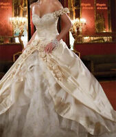 Stock Champagne Ball Gown Wedding Dress Ball Gown Formal Bridal Gowns Size 6-16