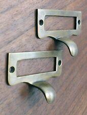 2 pcs Vintage Label File Name Card Holder Drawer Pull Handle Solid Brass