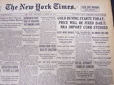 1933 OCTOBER 25 NEW YORK TIMES - GOLD BUYING STARTS TODAY, PRICE FIXED - NT 5230