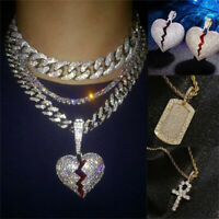 Fashion Hip Hop Broken Heart Ice Out CZ Chains Jesus Cross Gold Pendant Necklace