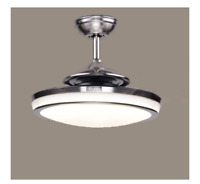 "48"" Retractable 4 Blades LED Ceiling Fan Light Remote Control Dimmable Lamp"