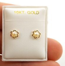10K YELLOW GOLD Flower Faux Pearl EARRING SCREW-BACK FOR BABIES/KIDS/GIRLS