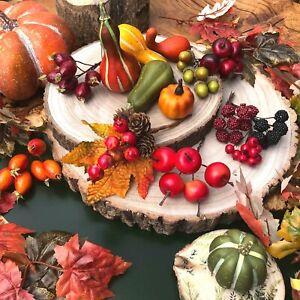 Autumn Fall Decorations Artificial Pumpkin Fruits Berries Real Wood Log Slice