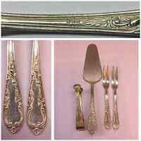 Besteck versilbert 90er Silber verziert 4 teilig Punze Krone