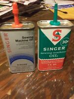 Vintage Set Of Singer Sewing Machine 4 Ounce Squirt Cans