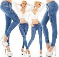Damen Jeans Röhrenjeans Skinny Hose Reißverschlüsse Strass Nieten XS-XL ORIGINAL