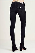 NWT TRUE RELIGION SUPER SKINNY FLAP BLACK SN crystal logo JEANS Sz 28 $363.00