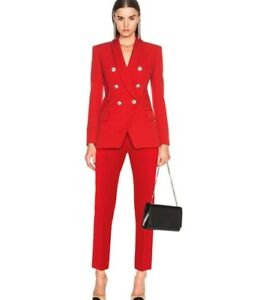 Women Designer Inspired Shawl Collar Golden Buttons Blazer + Crop Trousers Suit