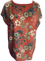Next Satin Floral Print Blouse Relaxed Fit Rose Gold Net Knitted Back Size 10