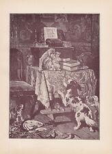 VICTORIAN PETS PET MONKEY PUG DOG PUPPIES & SPANIEL DOG ANTIQUE PRINT 1890