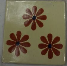 1x Hand-Made Ceramic Mexican Wall Tile Hand Painted Mexico Terracotta Tiles R26