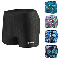 Men's Swim Trunks Quick Dry Boxer Briefs Swimming  with Pad Square Leg Swimsuit