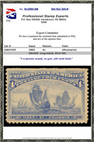 UNUSED 1893 US SCOTT #233 Columbian MINT W/ PSE Cert, Nice Color! NG