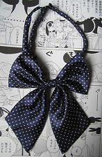 Navy Spotty Bow Tie Japanese School Girl Hentai Fetish Cosplay Lolita Roleplay
