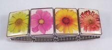 Set of 2 Super Cute New Metal Flower Tile Stretch Bracelets #B1292-2pc
