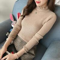 Women Knit Ruffle Bottom T Shirt Jumper Solid Stretch Sweater Tops Blouse Autumn