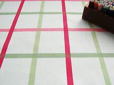Upholstery Heavy Cotton Canvas Fabric RETRO PINK GREEN CHECK HALF METRE #63