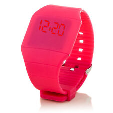 Digital Silikon LED Armband Uhr Armbanduhr Watch Herren Damen Kinder Sport Rosa