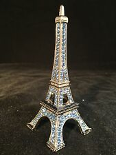 Blue Rhinestone Eiffel Tower Metallic Sculpture France French Paris Romantic New
