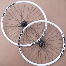 "26"" MX DISC WHITE Shimano Deore M475 Hub Wheels MTB Mountain Bike QR"