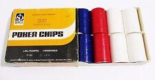 200 Hoyle Plastic Poker Chips - Interlocking Washable -  Red White & Blue