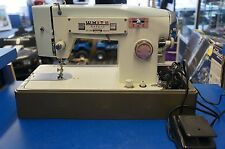 HEAVY DUTY WHITE SEWING MACHINE  in Case w Extras SUPER CLEAN ALL STEEL