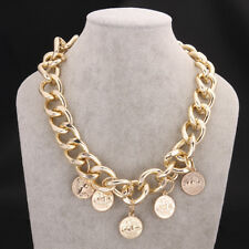 Elegant 18k 18CT Yellow Gold Filled GF Curb Link Coin Charn Chain Necklace NA723