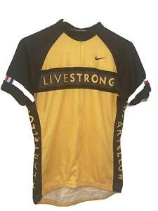 LIVESTRONG Nike Men Large Cycling Jersey Yellow/Black 3 Pocket Bicycle 3/4 Zip