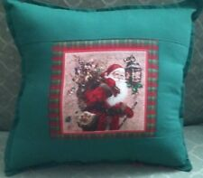 Country Cottage Christmas Holiday Old Time Santa Sackful Of Toys Plaid Pillow