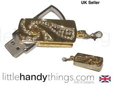 Gold/Stainless Steel Swivel 16GB USB Girl Bling Flash Drive/Pen Memory Key Chain