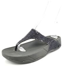 FitFlop Astrid Gray Leather Sparkle Comfort Thong Sandals Womens Size 8 M*
