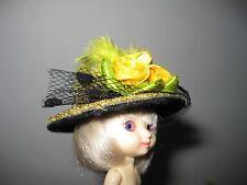 "Doll Hat 2"" Barbie Kelly, Skipper, Amelia Thimble, Gold Felt Rose Glitter"