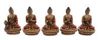 5 Statue Tibetano Dei Dhyani Budda IN di Resina Dipinto-Fatto Mano-Tibet -9395