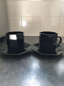 Arcoroc Octime Black Glass Tea Coffee Cups And Saucers Novoctime Luminarc