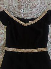 Rachel Zoe Off-Shoulder Crystal-embellished Jumpsuit Black Size 6 Orig $595