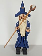 "Carved Wooden Painted Wizard With Wand Staff Orb Star Robes Hat 12 1/2"" Tall"