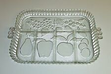 996~Vintage Indiana Glass Clear Mixed Fruit  Molded Glass Relish Tray**