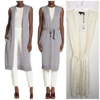 NEW Theory sleeveless Sweater maxi Long cardigan ivory belted Size M Wool AZK