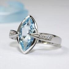 Echte Edelstein-Ringe aus Weißgold mit Blautopas