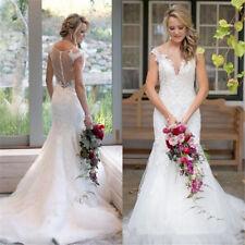 Organza White Ivory V Neck Mermaid Wedding dress Bridal Gown Custom Size 2-28