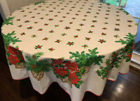 """VINTAGE Round 72"""" Christmas Tablecloth Poinsettias In Baskets, Holly Berries MOD"""