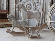 Chic Antique Schaukelpferd 33cm Holz champagner Deko Pferd vintage und shabby