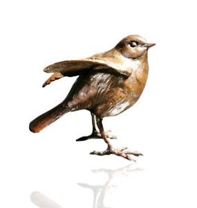 Bird Bronze Sculpture - Robin Standing - Limited Edition 250. Michael Simpson.