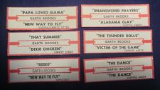 Lot of 6 Jukebox Tags 45 Rpm Title Strips Garth Brooks