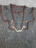 Medieval 9 mm Chainmail flat riveted with solid ring L size roman lorica hamata