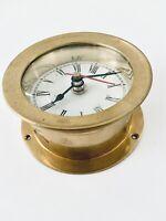 Vintage Wellgain Quartz Round Brass Nautical Boat Clock 1 Pound W Brass Screws