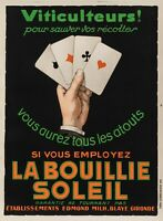 Original Vintage Poster - La Bouillie Soleil - Fertilizer - Poker Card game 1930
