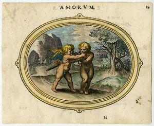 Antique Print-LOVE-STUBBORN-AGAINST WILL-CUPID-CHERUB-BIT-REIN-Veen-1608