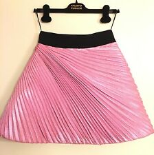 NWT Fausto Puglisi Pink and Black Metallic Pleated Bubble Skirt sz 40 IT (0 XS)