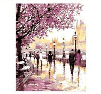 DIY Oil Painting By Numbers Kits Wall Art Picture Frame Cherry Blossoms Road New